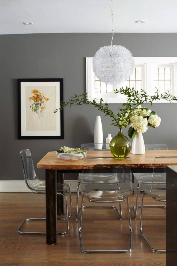 contemporary dining room with benjamin moore chelsea gray HC-168 wall paint