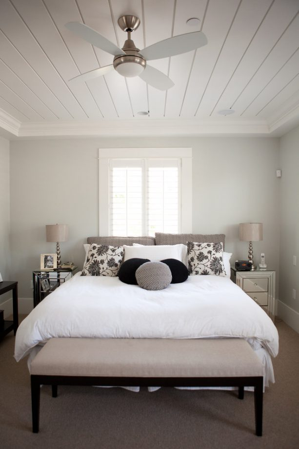contemporary master bedroom with Benjamin Moore Stonington Gray HC-170 wall paint
