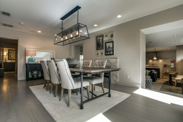 modern farmhouse dining room with Sherwin-Williams modern gray SW 7632 wall paint color