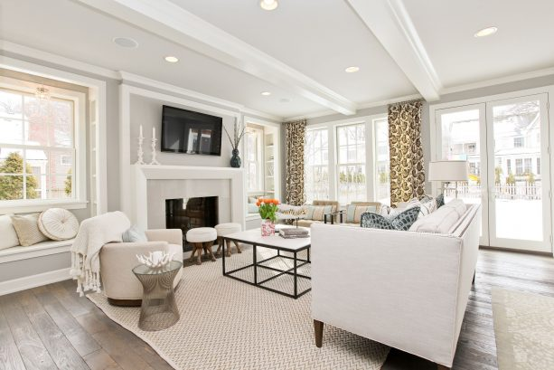 modern living room with benjamin moore stonington gray HC-170 wall paint