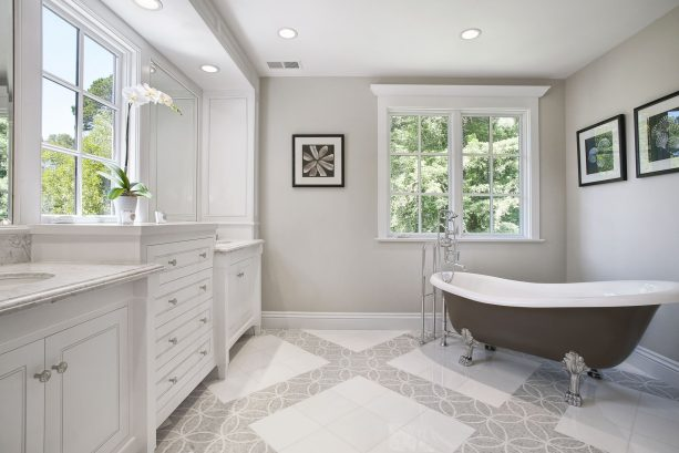 traditional bathroom with Benjamin Moore edgecomb gray HC-173 warm gray paint color