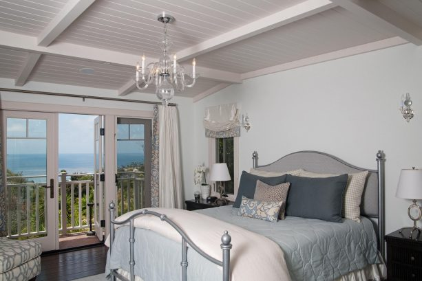 traditional bedroom with Benjamin Moore Glass slipper 1632 grayish blue wall paint color