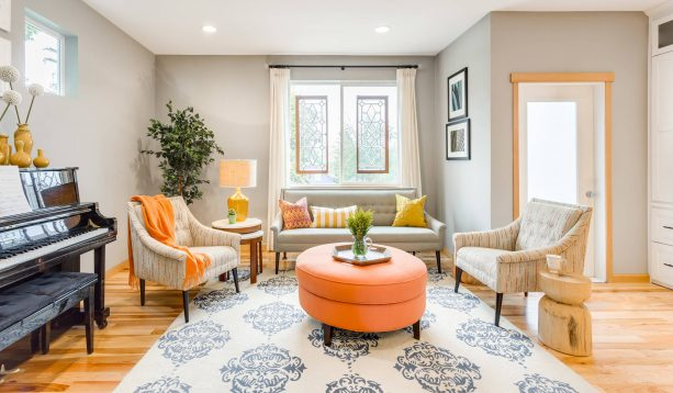 transitional living room with Sherwin-Williams repose gray SW 7015 wall paint color