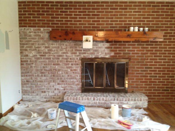whitewashing brick with gray paint