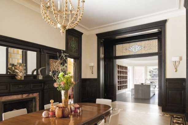 Victorian dining room with black trim and Benjamin Moore Carrington Beige HC-93 wall color combinations