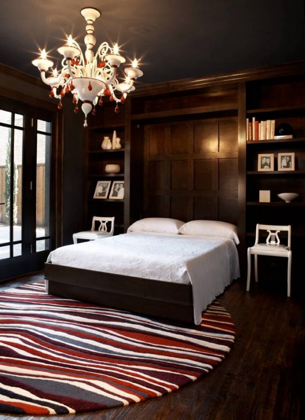 contemporary bedroom with black wall and trim paint color