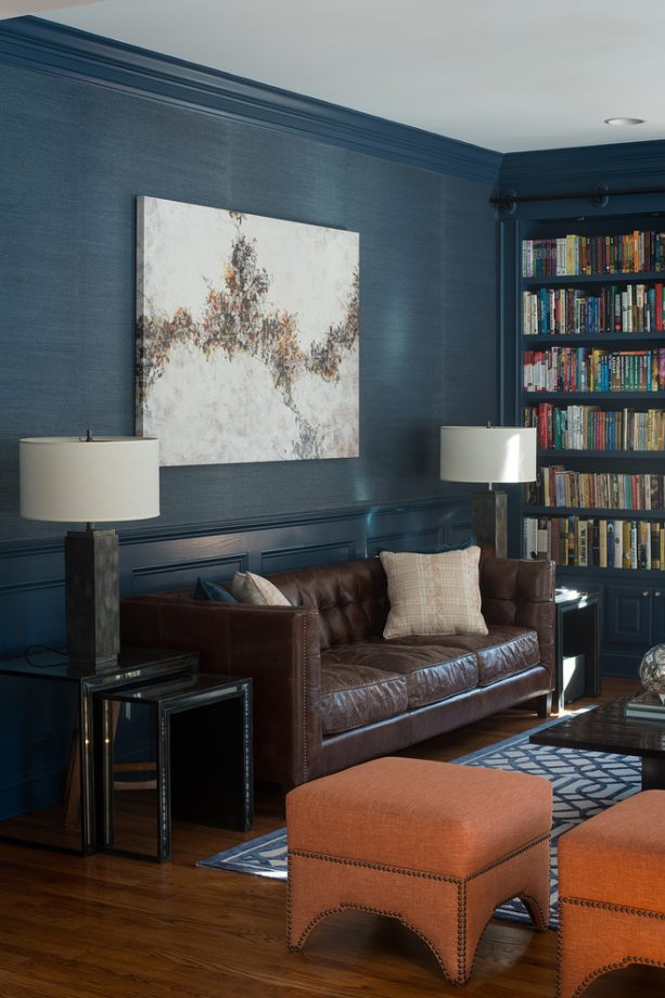 contemporary living and reading room with Benjamin Moore Newburyport Blue HC-155 wall and trim paint color