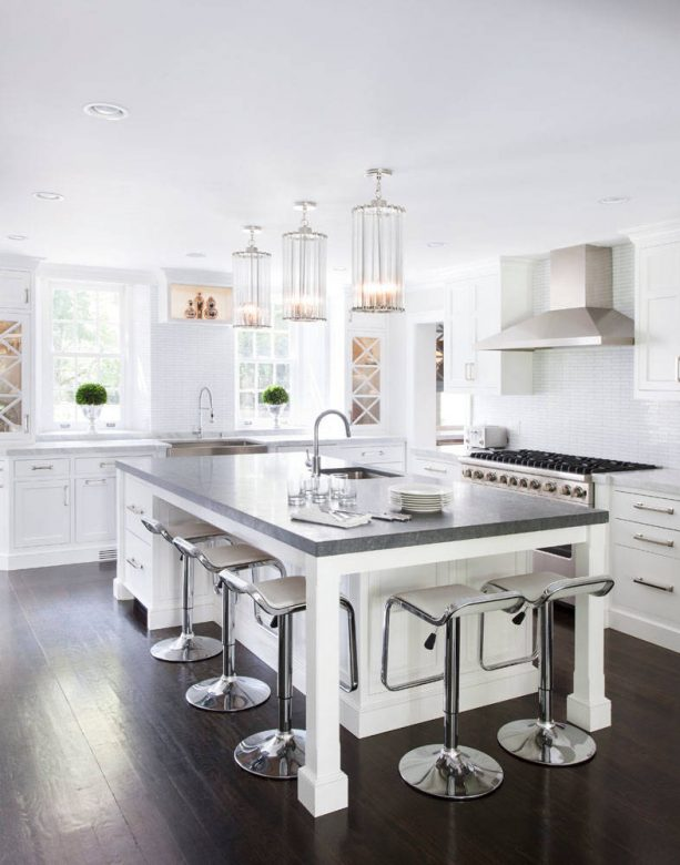 transitional kitchen with white cabinets and bright white wall paint