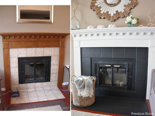 before makeover : ivory tile, after makeover : black tile