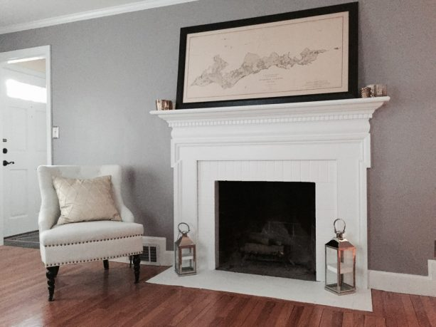 white-painted fireplace tile