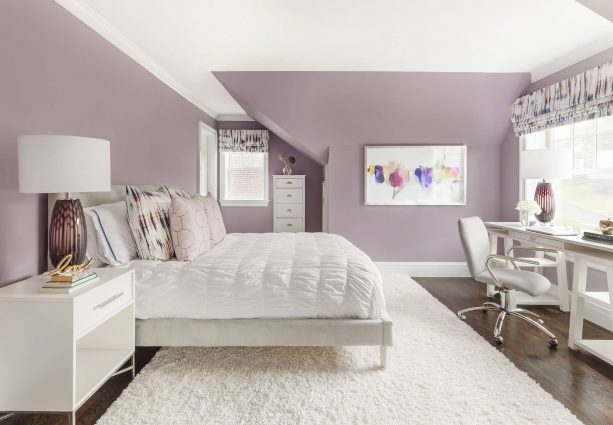 airy purple and grey bedroom