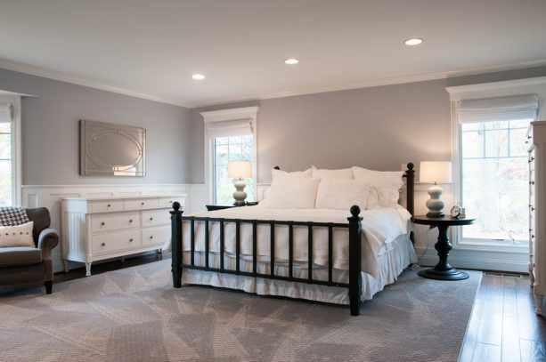 grey and white bedroom with black accents