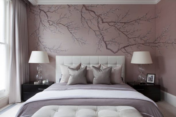 purple and grey bedroom with a custom mural