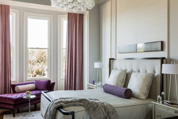 purple and grey bedroom with violet chaise longue