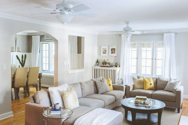 small greige and yellow living room