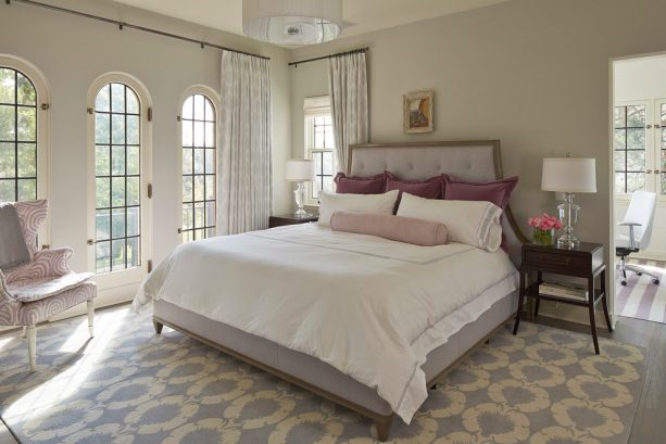 warm atmosphere in a purple and grey bedroom
