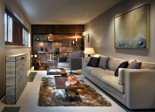 grey and brown living room with black decorative accents