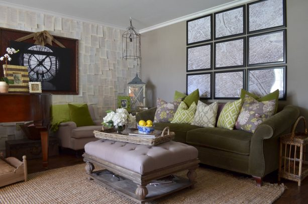 grey and brown living room with green patterned pillows