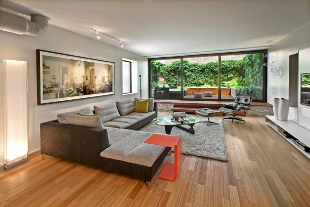grey and brown living room with two-tone sectional couch