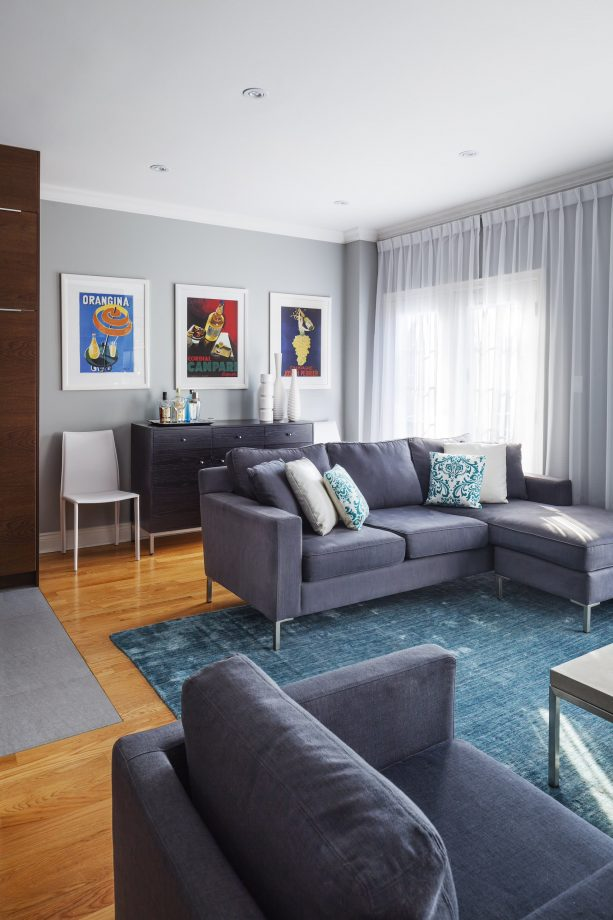 grey living room with teal area rug