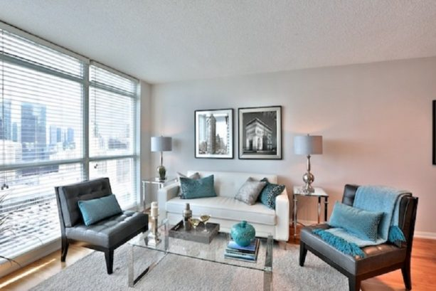 silver grey and teal living room