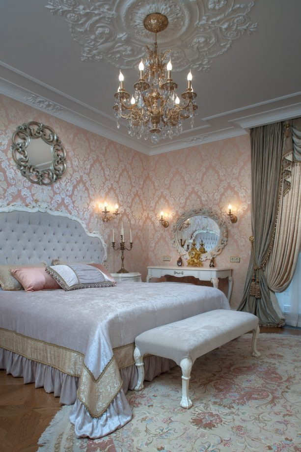Victorian princess-themed pink and grey bedroom
