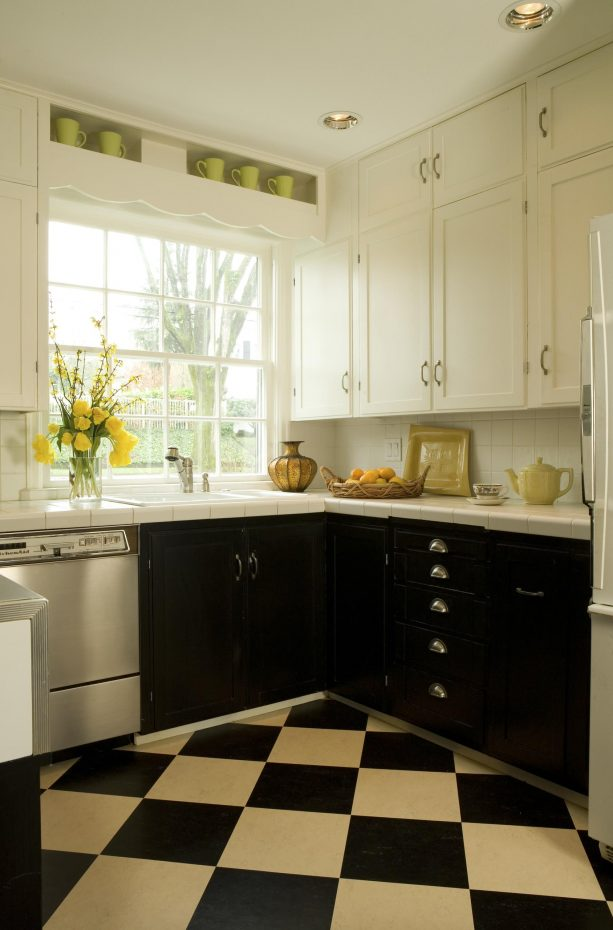 black and cream kitchen cabinets