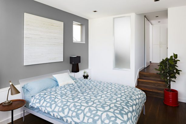 blue and grey bedroom in contemporary style