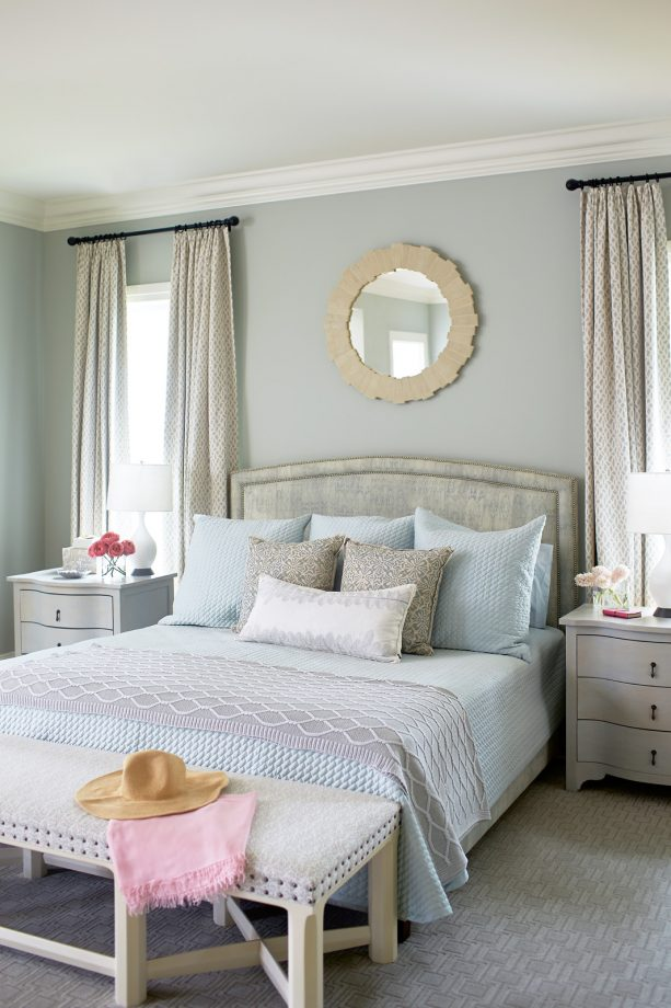 blue and grey bedroom in soothing color scheme
