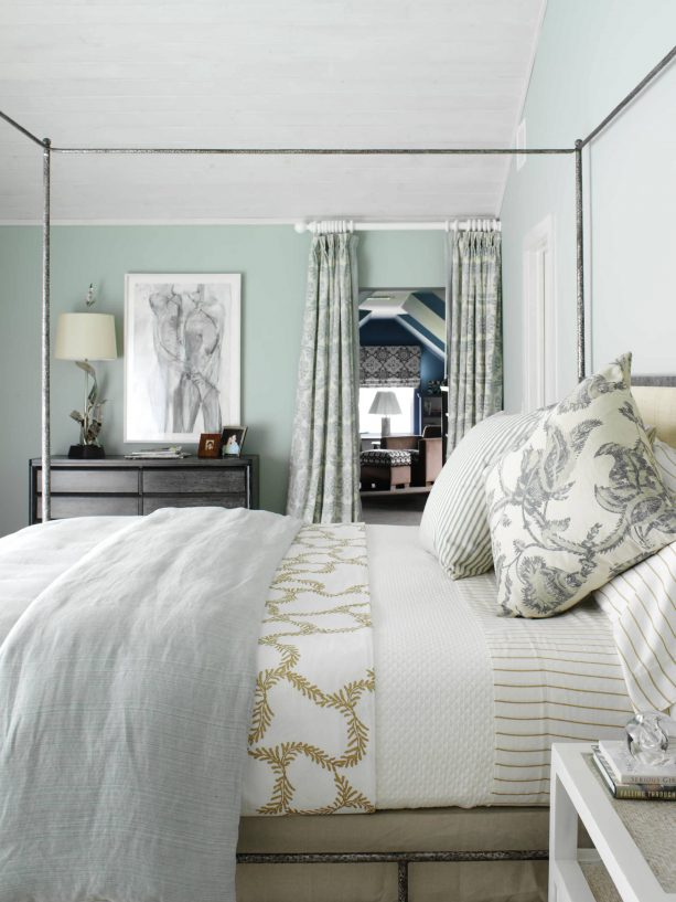 blue and grey bedroom with beach style
