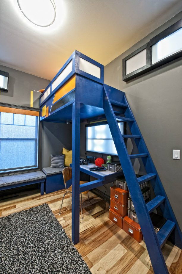 bold space-saving blue and grey teen bedroom