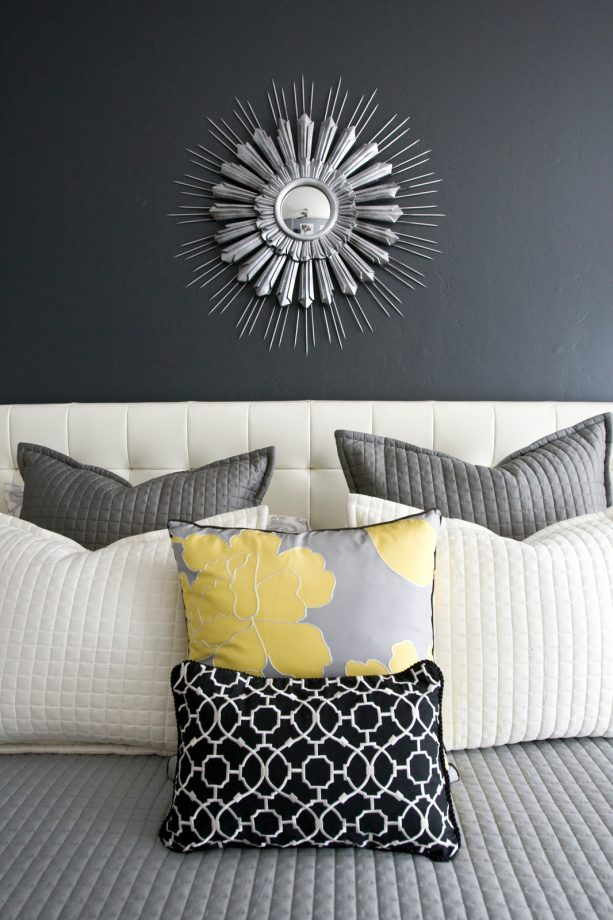 contrast grey and yellow-themed bedroom