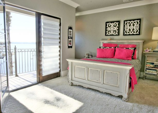 hot pink and grey bedroom