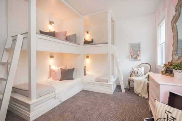 pink and grey bedroom with a simple and dreamy design for a female teenager