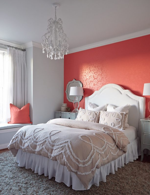 pink and grey bedroom with strawberry pink patterned accent wall