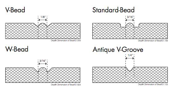 4 styles of beadboard