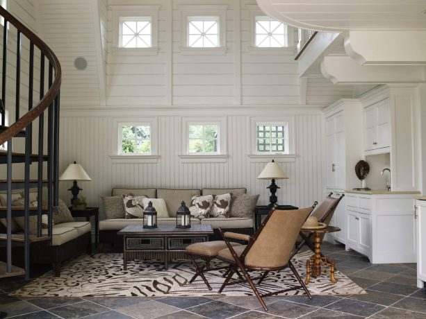 beautiful living room with beadboard walls