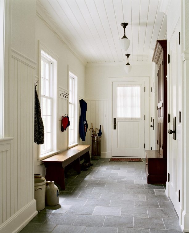 entryway with beadboard paneling on wall and ceiling