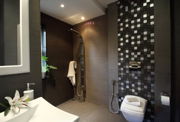 grey and white bathroom in dark theme