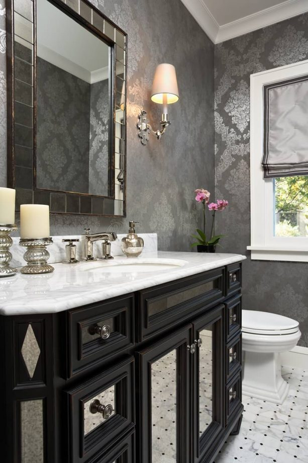 grey and white bathroom with glamor wallpaper