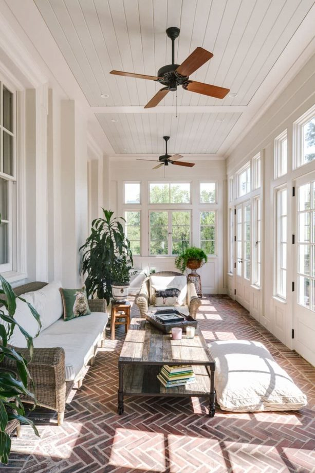 traditional sunroom with beadboard ceiling