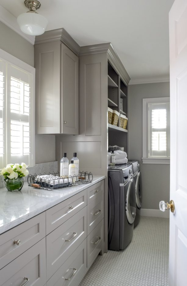 all-grey laundry room