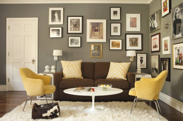 chocolate couch in grey and mustard living area