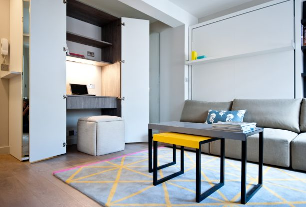 grey living room with mustard details