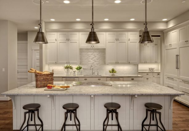 off-white cabinets in a white transitional kitchen