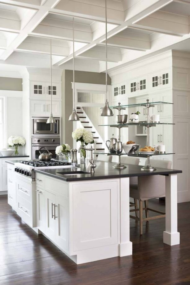 off-white cabinets paired with brushed metal elements in grey tone