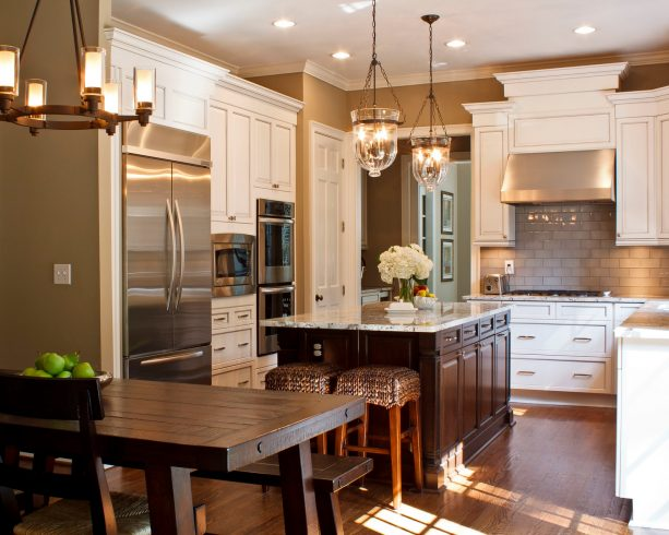 off-white cabinets paired with sand tone on the wall