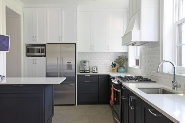 white and black shaker cabinets
