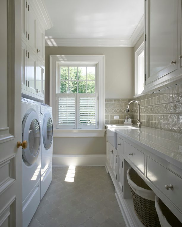 white and light gray laundry room