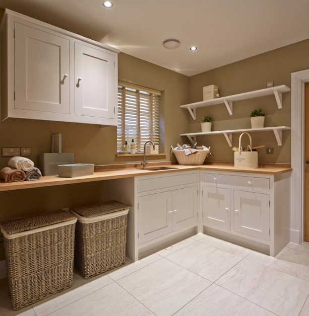 white and sandcastle tan laundry room